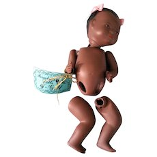 """Black Porcelain 5"""" Baby Doll parts by Gill"""