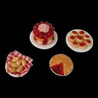Set of 4 Miniature dessert plates by Mary Eccher of Pannikin M.E. - Signed and dated