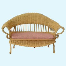 Miniature Doll wicker loveseat with pink cushion vintage Artist Made S.K.