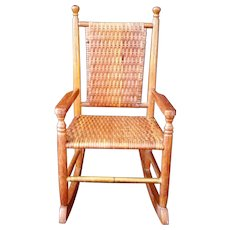 Adirondack Style Pecan Wood Wicker Woven High back rocking doll chair – Marked - Red Tag Sale Item