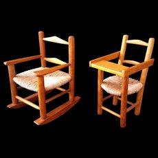 Vintage Salesman Sample Doll Cane bottom High chair and Rocker Doll furniture  c1960's