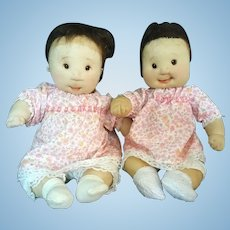 Dianne Dengel Doll Fraternal Twins Baby Girls Soft Doll in Pink - signed