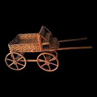 "Wicker Rattan Doll Wagon Pull Cart c1960  Large 14"" long"
