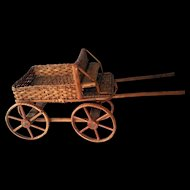 """Vintage Wicker Rattan Doll Wagon Pull Cart c1960  Large 14"""" long"""