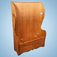 Vintage Artist made Miniature Colonial High back chest deacons bench with Heart Cut Outs - Signed