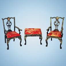 Miniature Doll Asian Empire Style Furniture Chairs and Side Table Black and Red - Artist Signed