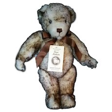 "LTD Merrythought Mohair 15"" Bear White with brown tips jointed growler #602"
