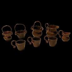 Vintage Copper miniature doll kitchen vessels 8 pieces handmade German 1960's