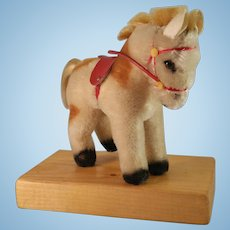 """Steiff Pony with Red Halter Mohair 5"""" Vintage c1953"""