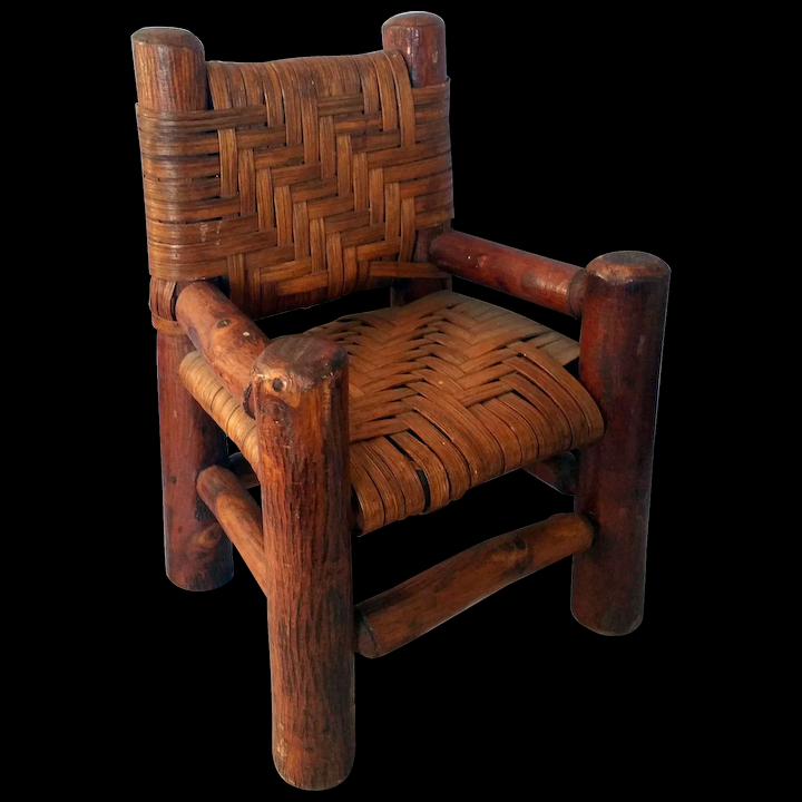 Early American Primitive Wood Doll 12 Chair Woven Cane Seat Back