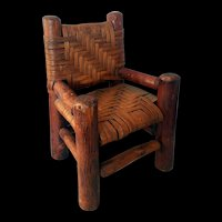 "Early American Primitive Wood Doll 12"" Chair Woven Cane Seat Back"