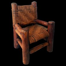 """Early American Primitive Wood Doll 12"""" Chair Woven Cane Seat Back"""