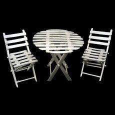 Miniature Pewter Patio folding Table and Chair Set by Peltro signed Lav. A Mano