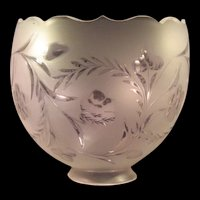 Antique Glass Lamp shade Floral Etched Hand Cut Beveled Top Rim