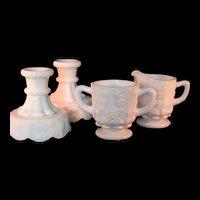 Westmoreland White Milk Glass Creamer, Sugar Bowl and  2 Candlesticks Grape Pattern