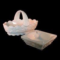 White Milk Glass Basket and Ashtray by Westmoreland Grape Vine Pattern
