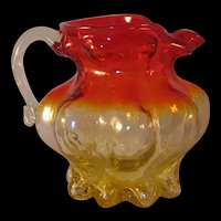 Vintage Amberina Kanawha Handcrafted Glass Small footed Pitcher made in Dunbar, West Virginia