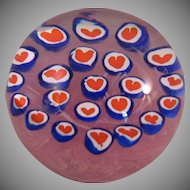 """Vintage Millefiori Hearts on Pink Swirl Paperweight signed Gentile Glass Star City WV - 3 1/2"""""""
