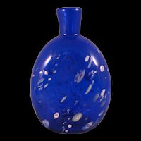 Cobalt Blue with white Splatter Swirl Studio Art Glass Flask Vase 20th Century