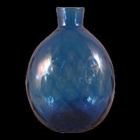 Pairpoint Diamond Quilted Cobalt Blue Art Glass Vase Flask Signed Vase Bottle