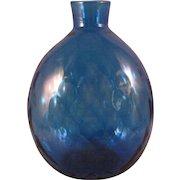 Pairpoint Diamond Quilted Cobalt Blue Art Glass Vase Flask Signed Vase Bottle