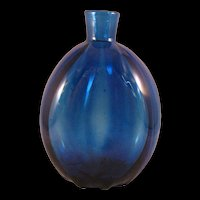 Vintage Cobalt Blue Art Glass Vase or Flask 1960's
