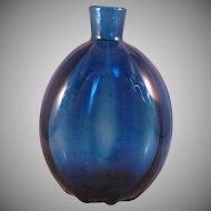 Vintage Cobalt Blue Art Glass Vase or Flask 1960's
