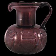 Early American Amethyst Star and Shield Glass Pitcher - Clevenger Brothers blown three mold pattern - Mid Century