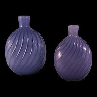 2 Vintage Pairpoint Purple Studio Art Glass Amethyst Swirl Vase or Flask - 1970's