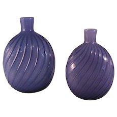 2 Vintage Pairpoint Purple Studio Art Glass Amethyst Swirl Vase or Flask - 1970's