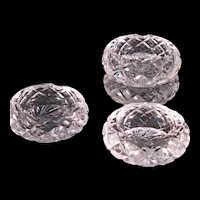 "Vintage Set of 4 Bohemian Cut Glass 3"" Round Heavy Ashtrays"