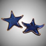 Vintage set of 2 Cobalt Blue w Gold Glass Starfish Candy Trinket Dishes