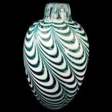 Aqua blue and white pulled feather blown Vase by Artist Matthew Buechner signed 1984 Newport, RI