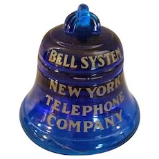 Turn of the Century New York Telephone Blue Glass Bell System Paperweight c1910