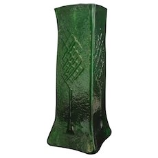 Magnificent Emerald Green Tall square Art Glass Funeral Vase with Tree pattern c1950's