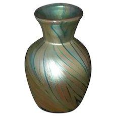 "Kent Fiske 3"" Pulled Feather Vase Aqua and Gold Signed MCM c1970"