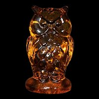 Amber Owl Art Glass Paperweight Stamped 1960's MCM