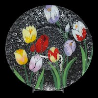 Tulips Fused Art Glass Plate by Ann C Ross Cape Cod Signed