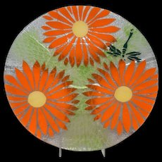 "Sydenstricker Dragonfly orange flowers Fused Art Glass 12"" Plate Signed"