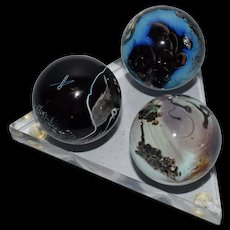 "Josh Simpson Marble Planet set of 3 on pedestal 1.5"" signed 1999"