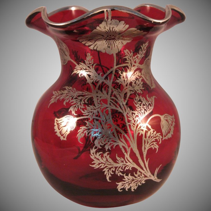 Vintage Ruby Red Ruffle Top Vase With Silver Floral Overlay The 7