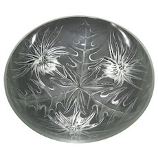 Vintage Verlys Alpine Thistle 3 footed Bowl - Signed and made in France
