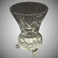 """Star & Swirl Cut Etch Glass Vase Footed Thistle Shape - Mid 20th Century 6 1/4"""" tall"""