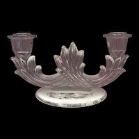 Fostoria Baroque Rose Etch Double Candlestick