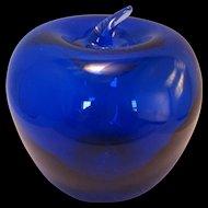 Cobalt Blue Blenko Glass Apple Paperweight w attached Stem
