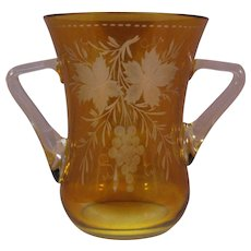 Bohemian Czech Amber cut to clear Vase Grapes on Vine with applied handles Mid Century