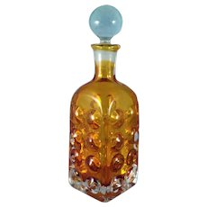 Amber and Clear Heavy Glass liquor decanter MCM 1960's