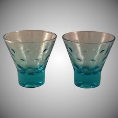 Aqua Azure Capri Dot Whiskey Glass set of 8 by Hazel-Atlas