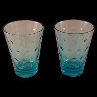 Aqua Azure Capri Dot Juice Glass set of 8 by Hazel-Atlas