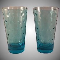 Aqua Azure Capri Dot Water Glass set of 8 by Hazel-Atlas